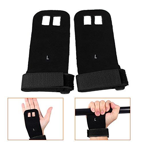 Guantes protectores de palma para gimnasia, 1par guantes de piel sintética con soporte para muñeca y agarres gimnasia deportes levantamiento de pesas color negro tamaño Medium