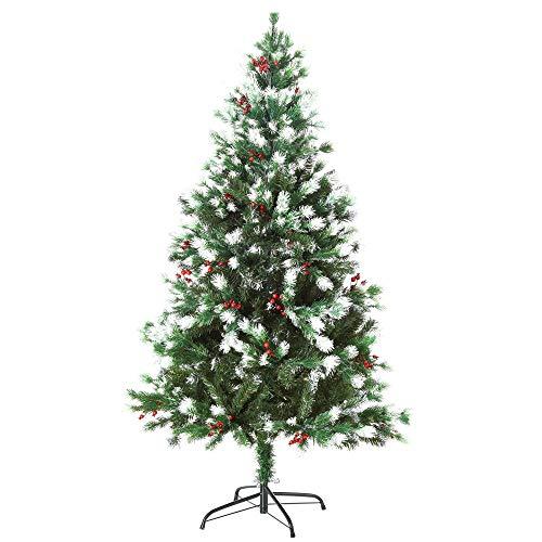 homcom Albero di Natale Pino Artificiale Innevato, con Rami e Bacche Rosse, Base Pieghevole e Rimovibile, 150cm