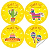 2 Inch Fiesta Thank You Stickers - Mexican Theme...