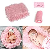 Vedory 3Pcs Baby Photo Props Headband with Blanket Stretch Knitted Wrap Swaddle for Boy Girls Photography Shoot Photographic Mat(Pink)