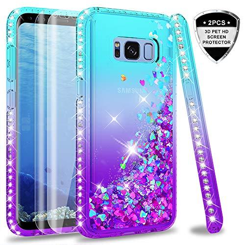 LeYi Custodia Galaxy S8 Case con Full Cover Curved 3D Pet Pellicol [2 Pack],Diamond Rhinestone Glitter Liquido per Custodie Samsung Galaxy S8 ZX Turquoise Purple Gradient