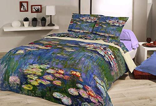 Deco Italia Set Copripiumino copriletto Monet Ninfee 100% Cotone | Matrimoniale 250 x 240 cm + 2 federe 50 x 80 cm