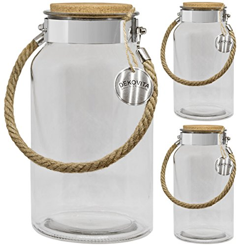 Dekovita Vorratsglas 3er Set 5l H:30/D:16/Ö:10,6cm Korkdeckel Kordel Gartenlaterne Glasbehälter Dekoglas Windlicht Vase
