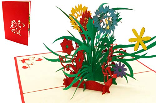 LIN 17577, POP UP Karten Blumen, POP UP Karten Geburtstag, Pop Up Geburtstagskarte, 3D Grußkarten Blumenkarte Klappkarte Viel Glück Gute Besserung, Muttertag, Wildblumen, N338