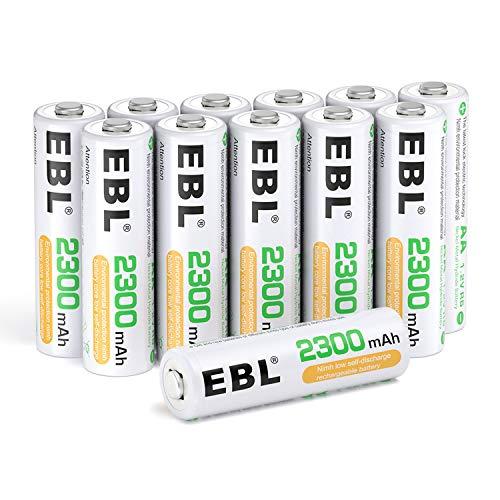 EBL Juego de 12 Pilas Recargables AA NI-MH 2300mAh Baja Autodescarga con ProCyco Baterías Recargables de 1,2V para Juguete, Linternas, Despertadores, Reloj