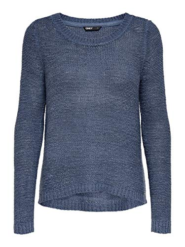 Only onlGEENA XO L/S PULLOVER KNT NOOS, Suéter para Mujer, Azul (Vintage Indigo), XS