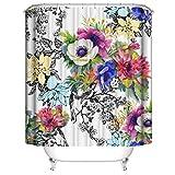 LLLTONG Duschvorhang Mehltau Kirschblüte Kirsche Duschvorhang, waschbarer dekorativer Duschvorhang, wasserdichte Badewanne Zubehör Blumen