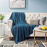Bedsure Throw Blanket for Couch, 100% Acrylic Knit Woven Blanket, 50×60inch - Cozy Lightweight Decorative Throw for Sofa, Bed and Living Room - All Seasons Suitable for Women, Men and Kids (Navy)