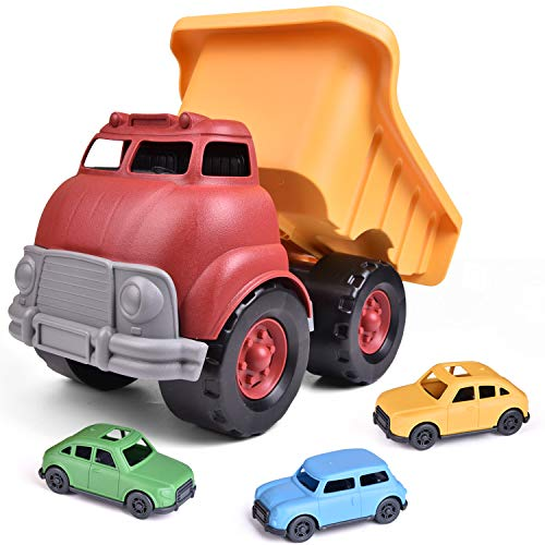 FUN LITTLE TOYS Truck Toy with 3 Pack Mini Car Toys, Push & Go Truck Sand Toy for Boys,Toddler Outdoor Toy