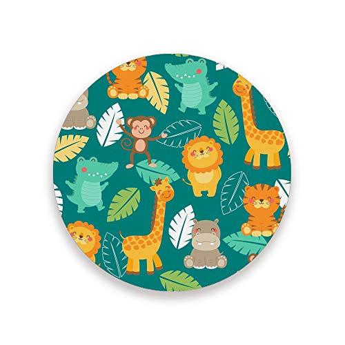 CHEHONG - Posavasos absorbentes con base de corcho, diseño de animales de la selva, decoración del hogar, oficina, tazas de cristal, mesa de comedor, juego de 1, 2, 4, Cerámica + base de corcho., Color, 2 unidades