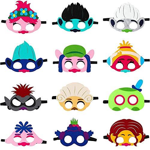 Trolle Maske für Kinder, Trolle Welt Tour Filz Maske Party begünstigt Kinder Dress Up Kostüm Masken Trolle Cosplay Mohn Masken Foto Booth Props Kinder Party liefert Geburtstag sgeschenk