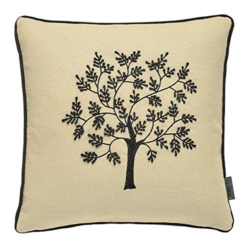 Morris & Co Morris Seaweed Woodland Tree Cushion, 52% linen, 48% cotton, Black, 40 x 40 x 15 cm