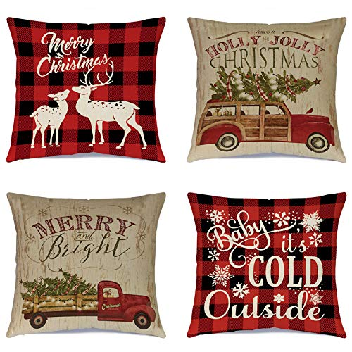Ueerdand - Juego de 4 fundas de almohada para árbol de Navidad, decoración de camión, algodón, lino y invierno, 40 x 45 cm