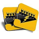 Great Coasters (Set de 2) Posavasos cuadrados/brillantes de calidad para cualquier tipo de mesa – Rock Band guitarra eléctrica música # 12984