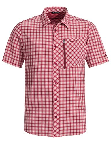 VAUDE Mens Seiland Shirt II Kariert-Rot, Herren Kurzarm-Hemd, Größe M - Farbe Salsa