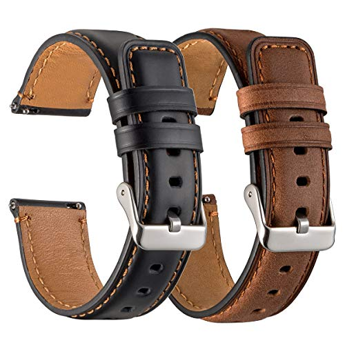 Galaxy Watch 3 45mm Bands 2 Pack, Compatible with Samsung Galaxy Watch 3 45mm Watch Band, Width 22mm Leather, for Men Women Quick Release Smart Straps Unisex Size(Black+Brown)