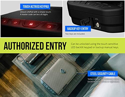 VAULTEK LifePod Secure Waterproof Travel Case Rugged Electronic Lock Box Travel Organizer Portable Handgun Safe with Backlit Keypad (Titanium Gray)