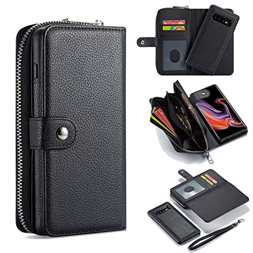 JIAHENG Phone Case Case For Samsung Galaxy S10E Leather Wallet Zipper Wallet,Removable Magnetic Matte TPU Phone Case,with ID & Credit Card Pocket and Detachable Wrist Strap PU Leather Cover Shell