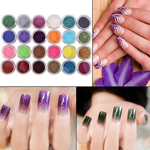 Scopri offerta per Polvere per unghie a effetto specchio, 24 colori Polvere di scintillio per unghie Suggerimenti per la decorazione Strumento di manicure Kit per uso professionale a casa