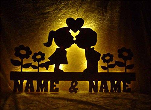 Unbekannt Schlummerlicht24 Nachtlicht Deko Blütenzauber für das Schlafzimmer mit Namen nach Wunsch, Led-Leuchte für das Wohnzimmer oder Schlafzimmer, handgemacht (Liebe)