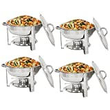 Super Deal Pack of 4 Full Size Round Chafing Dish 5 Quart Stainless Steel Dinner Serving Buffer Warmer Set Tray Buffet Catering
