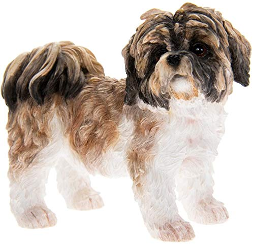 Dog Studies Figurine décorative en Forme de Chien Shih Tzu Marron