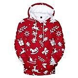 YOCheerful Party Pullover Fashion Tops Women Christmas Print Autumn Winter Long Sleeve Hooded Sweatshirt