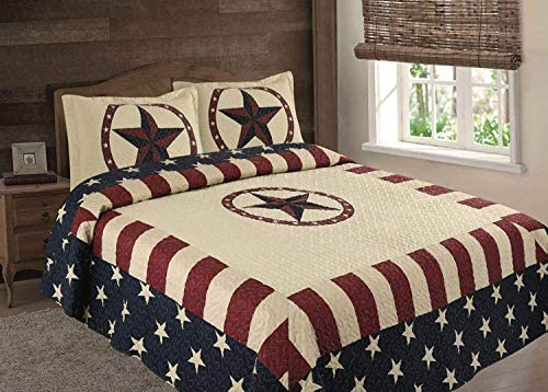American Flag Texas Western Rustic Cowboy Navy Star Quilt Bedspread Comforter 3 Piece Set Oversized product image