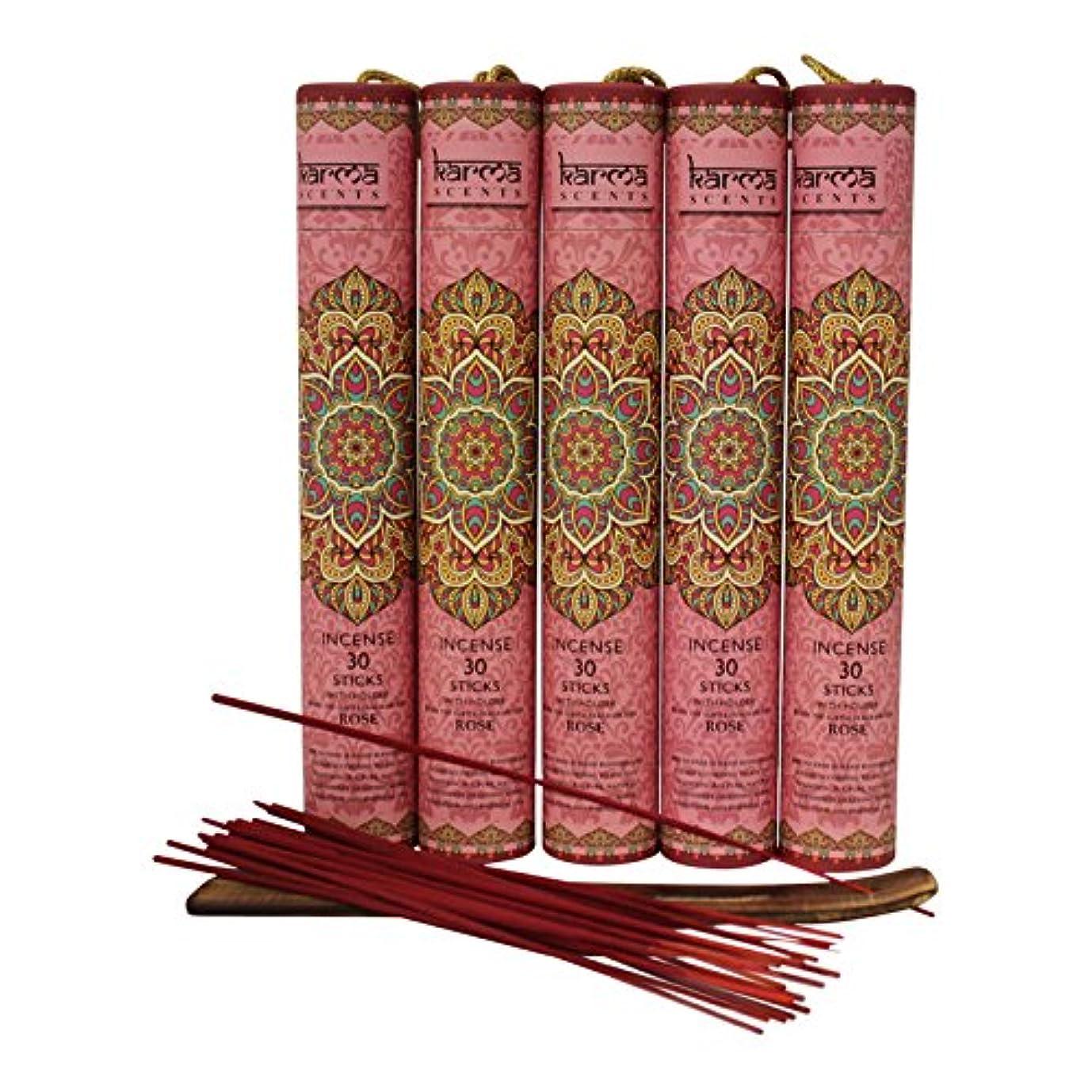 先史時代の有効化びんお香5パックセット ギフトパック 各パックにお香立て付き 計150本 お香立て5付き レッド