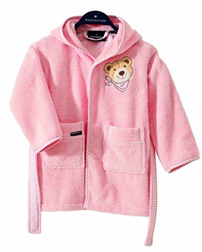Morgenster, badjas voor kinderen, kinderbadjas met capuchon, maat 86/92, kleur roze, motief beer, 100% katoen, badstof