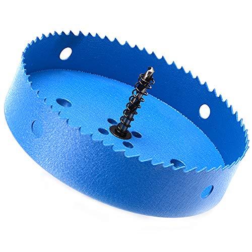 155mm Hole Saw 6.1 Inch, 34mm Bi-Metal Cutting Depth HSS M42 Corn Hole Cutter for Boards, Soft Metal Sheet, Drywall, Plastic, Wood, Fiberboard [6-7/64 Inch Ocean Blue]