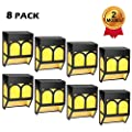 Solar Lights Outdoor Decorative, LED Deck Lights Fence Post Solar Lights for Steps, Wall, Front Door, Backyard, Railing, Waterproof, Warm White/RGB, 8-Pack