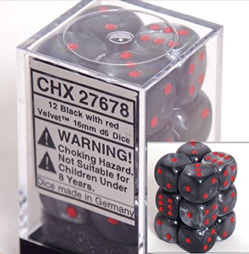 Chessex Dice d6 Sets: Velvet Black with Red - 16mm Six Sided Die (12) Block of Dice
