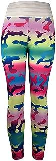 Ladies Hidden Fluorescent Camouflage Printed Athletic Yoga Pants Slim Fashion Workout Leggings