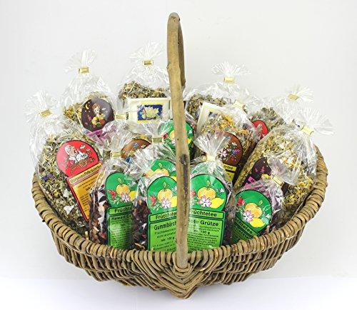 1000Kräuter Geschenkkorb XXL Geburtstagskorb mit 15 Teesorten