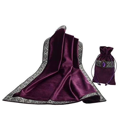 Hao Run New Altar Tarot Cards Bag Table Cloth Tablecloth Divination Wicca Velvet Tapestry (Purple)