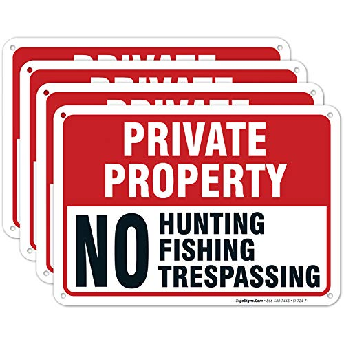 (4 Pack) Private Property No Hunting Fishing...