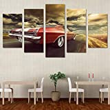 WYJIE 5 Piezas decoración del hogar Chevrolet Modular Mordern Lienzo Pared Arte Coche Fotos HD Pintura impresaNo Framed40x60cm40x80cm40x100cm