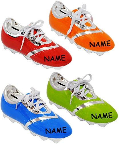alles-meine.de GmbH 1 Stück _ Spardose -  Fußballschuh / Sportschuh - Schuh  - incl. Name - mit echten Schnürsenkel ! - stabile Sparbüchse aus Porzellan / Keramik - Fußball - l..