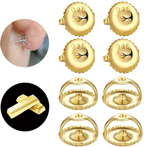 14K Gold Secure Screw on Earring Backs Replacement for Diamond Studs, 4 Pairs Sterling Silver Locking ScrewBacks Hypoallergenic for Threaded Post (0.032'') Backing