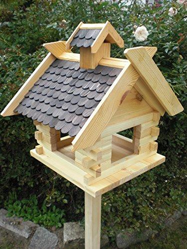 Vogelhaus mit Ständer-(V07+S1)XXXL Schwarz-Vogelhäuser Vogelfutterhaus Vogelhäuschen-aus Holz Schreinerarbeit- - 2