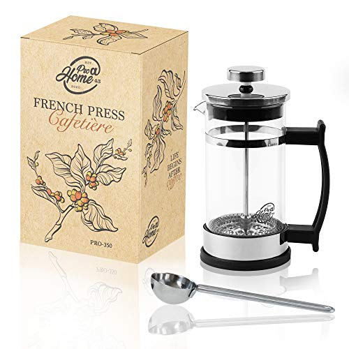Pro@Home43 French Press, Kaffeebereiter 0,35l (2 Tassen), Kaffeepresse, Cafetière, Kaffeezubereiter, Coffee Press aus Glas/inkl. Edelstahl Dosierlöffel
