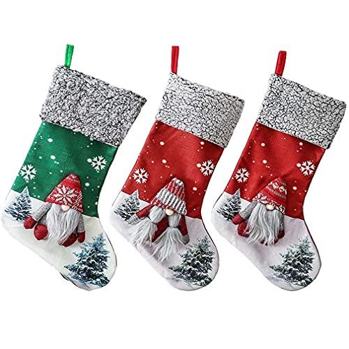 OIKJOKG 3PCS Christmas Stockings New Plaid Christmas Stockings Snowmen Santa Sock Candy Gift Bag NEW Year 2021 Christmas Tree Hanging Ornaments (Color : D)