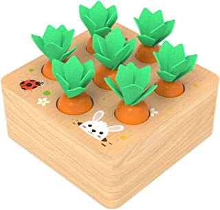 Wooden Shape Size Sorting Toy for Kids Babies, Carrots Stacking Board, Develop Fine Motor Skills & Logic