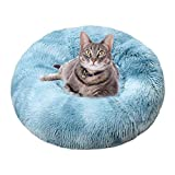 TVMALL Hundebett Katzenbett Rundes Kissen Schöne Tierbett Plüsch Weich Kissen für Hunde Betten & Sofas für Katzen Für Welpen, Katzen, Kleintiere Donut-Bett selbstwärmende Katzenbetten 60CM