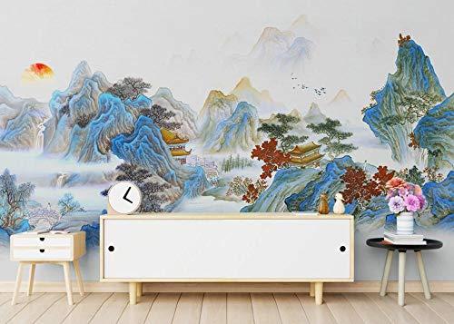 3D-Wandbild mit Tinte und Waschung, klassische Landschafts-Dekoration, Tapeten für Schlafzimmer, Wohnzimmer, TV-Hintergrund, Wandbild, 350 x 250 cm