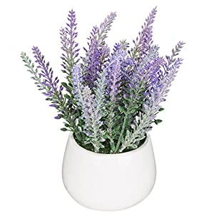 MyGift Garden White Ceramic Tabletop Artificial Potted Plant/Modern Decorative Fake Lavender Flowers