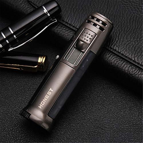 Accendino per Torcia Metallo Torch Lighter Antivento per Accendino butano Ricaricabile Accendino per Fiamma a Getto Accendino per Torcia Regolabile per Barbecue Campeggio (Senza Gas),Black