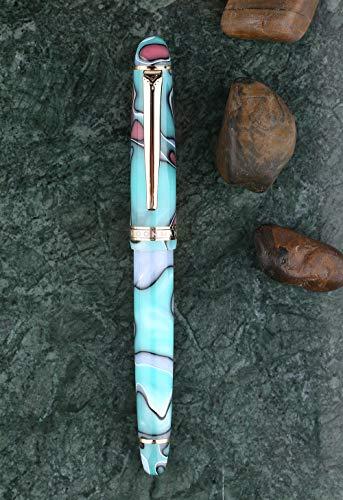 MoonmanS3万年筆極細字セルロイド湖の青さ、ゴールドトリム、コンバーター