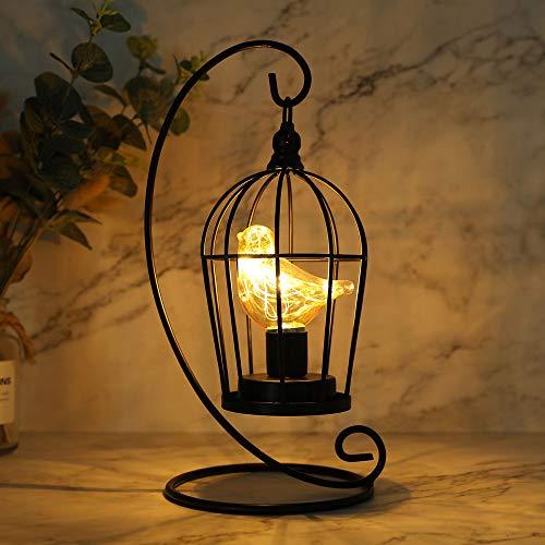 JHY DESIGN Vogelkäfig Birne Dekorative Lampe Batteriebetrieben Kabellos 31cm Hoch Schnurloses Tischleuchte Metall Batterie Tischlampe für Wohnzimmer Schlafzimmer Party Hochzeit Garten(Schwarz)